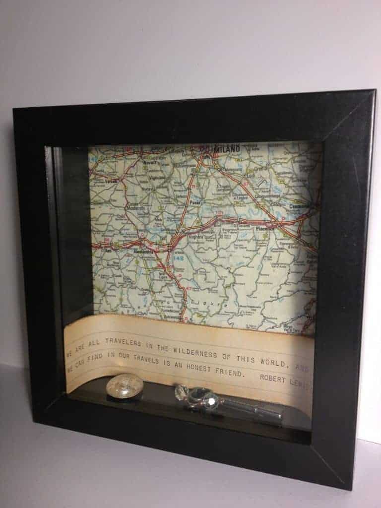 diy tutorial | how to make your own vintage map shadowbox | the johnsons plus dog
