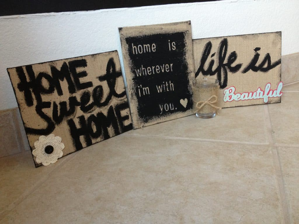 diy craft tutorial | burlap signs with stickers and paint | the johnsons plus dog