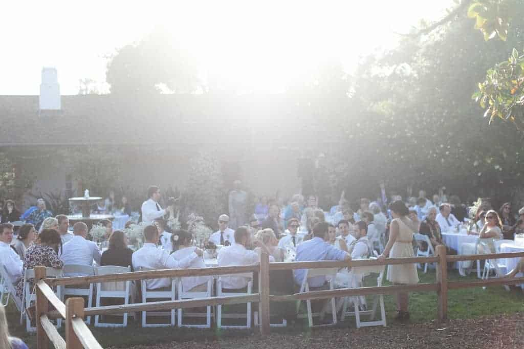 wedding guests during a reception, most are seated at tables