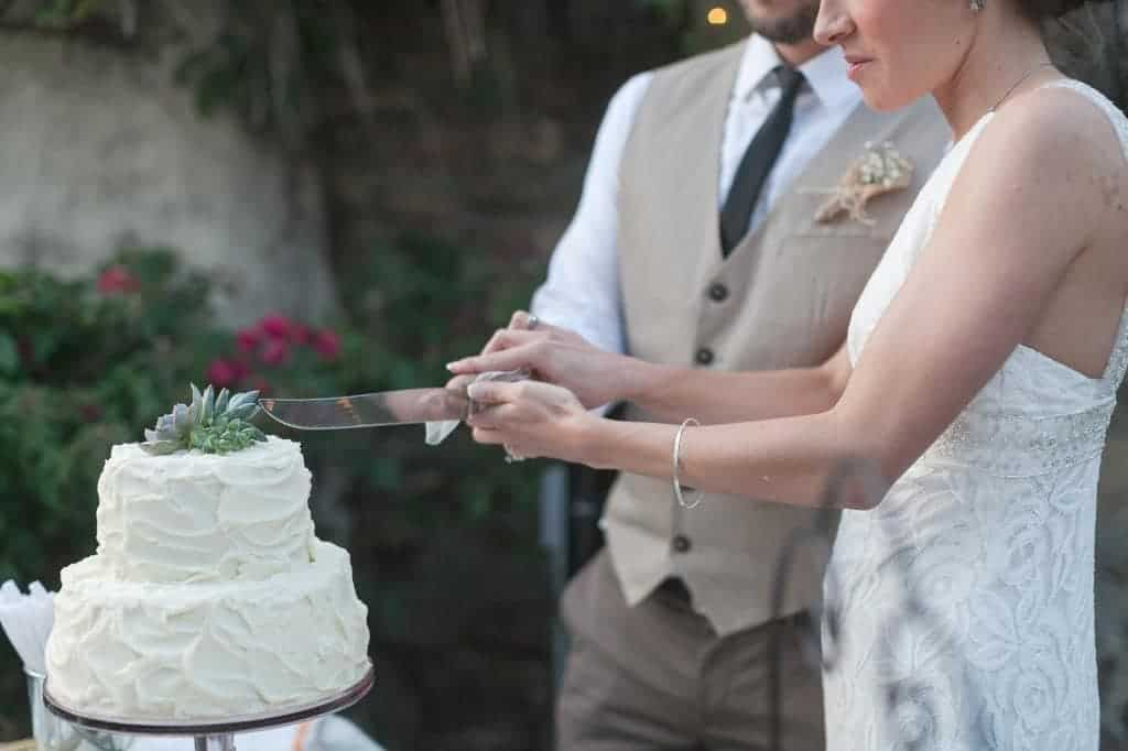 a bride and groom cutting into a small two tier cake with white icing and succulents on top
