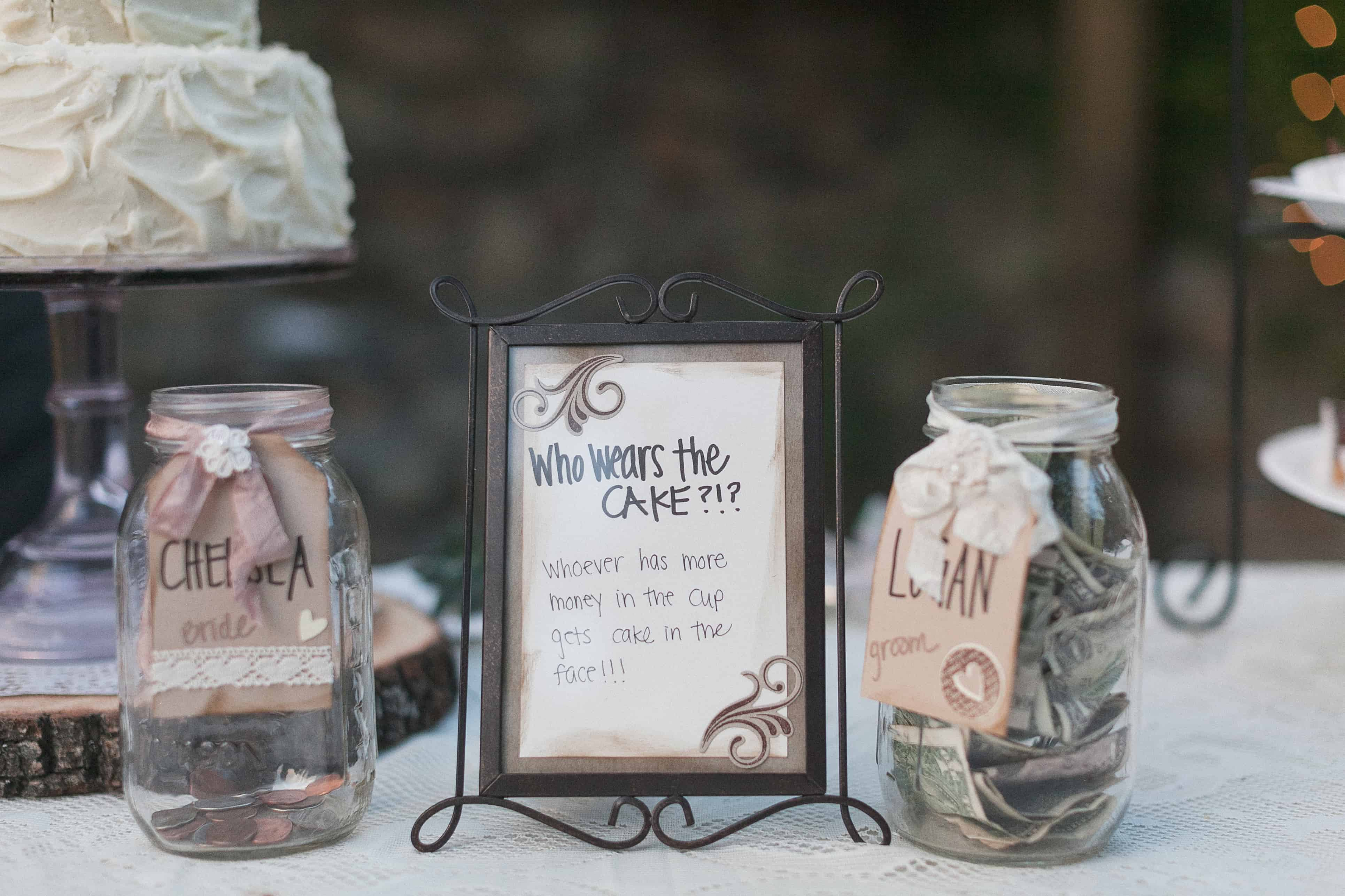 Mason jar as money dance alternative and vintage table decor