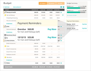 Wedding budget tool from wedding wire with screenshot showing the wedding budget interface with payment reminder popup