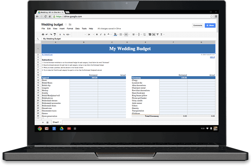 Image of laptop with Google Doc wedding budget planner on screen