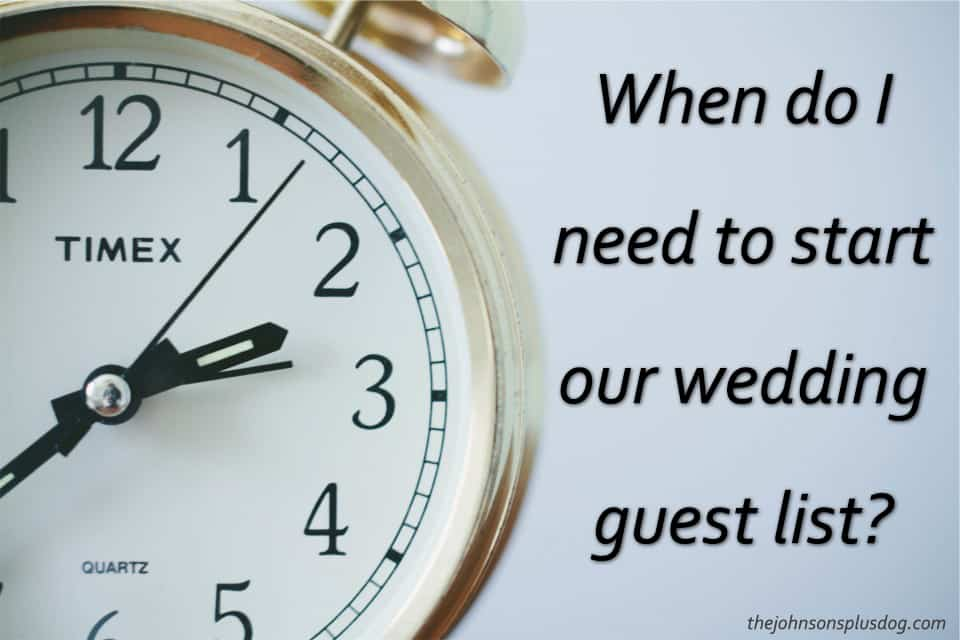 Close up picture of clock with text overlay that says When do I need to start our wedding guest list?