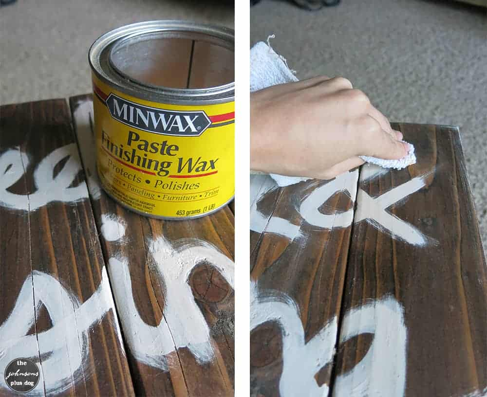 Rustic painted wood sign tutorial | the johnsons plus dog