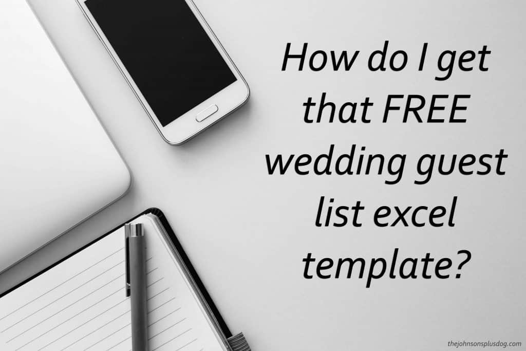 Picture of computer, cell phone and notebook on countertop with text overlay that says how to I get that FREE wedding guest list excel template ?