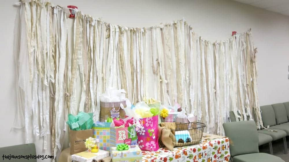 Gift table for rustic woodland baby shower