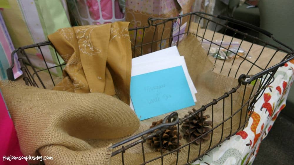 Love this vintage wire basket for cards at this rustic woodland baby shower