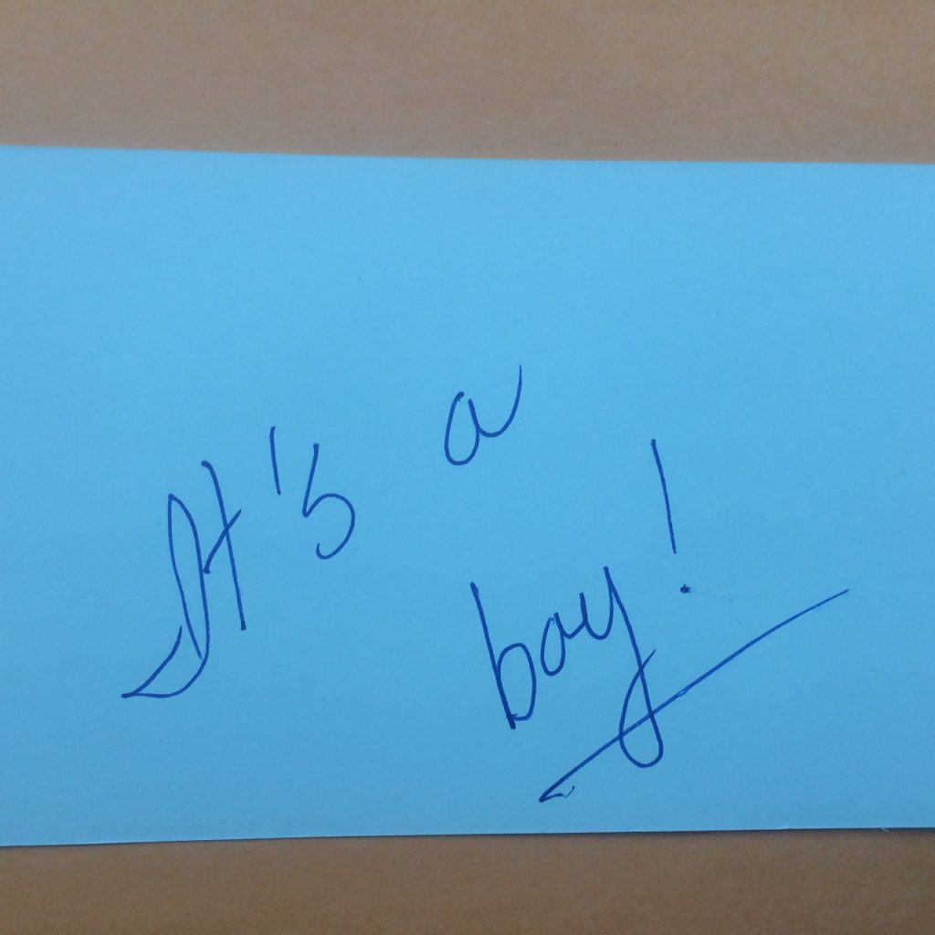 It's a boy! written blue index card to announce the gender