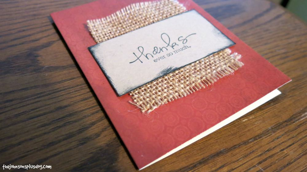 Easy Thank You Card With Burlap