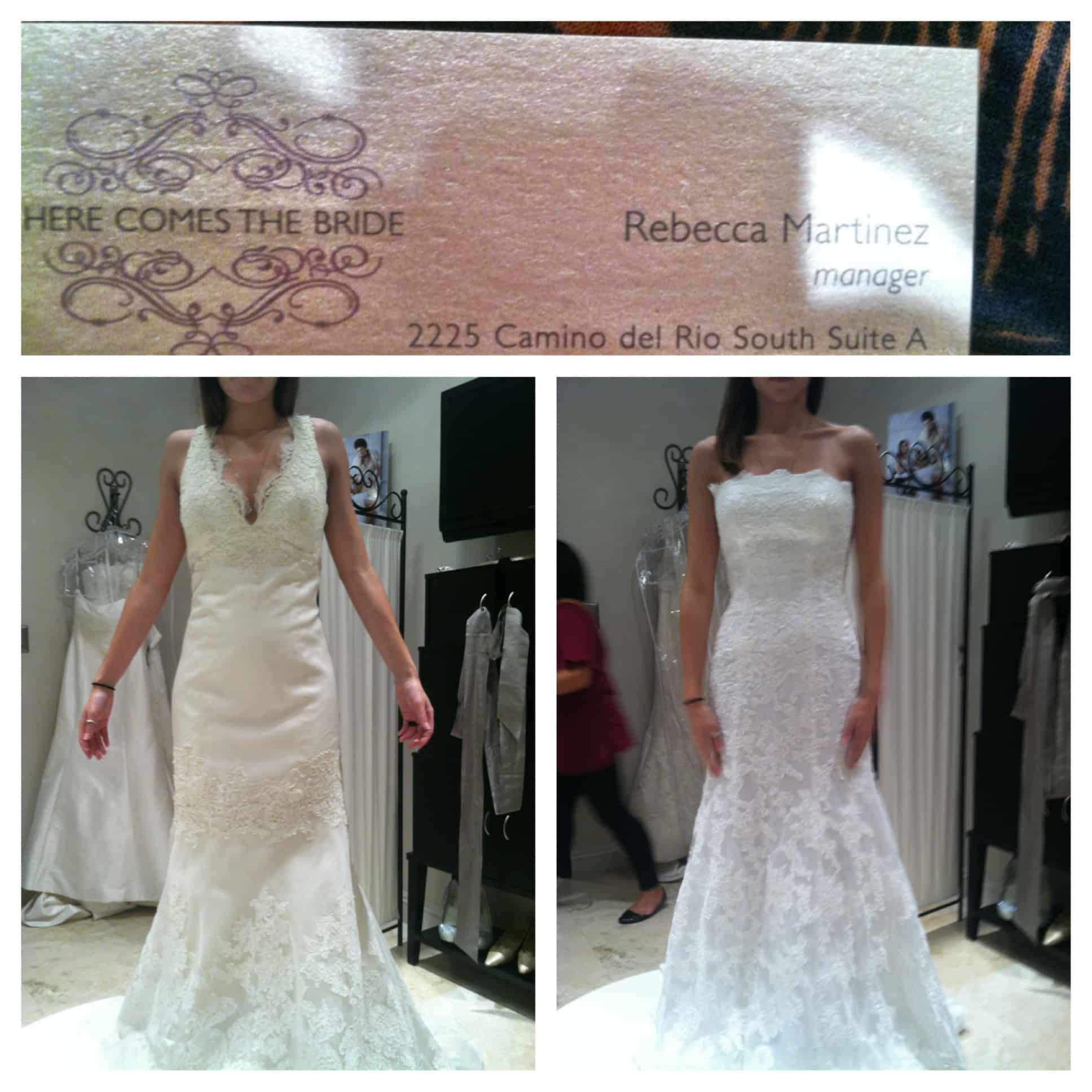 Stay organized when wedding dress shopping by creating collages with business card and favorites from each store | 15 Tips for Wedding Dress Shopping