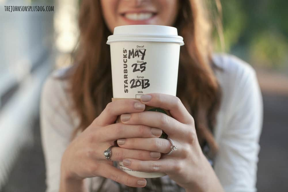 Starbucks cup engagement photography   Save the date Starbucks cup