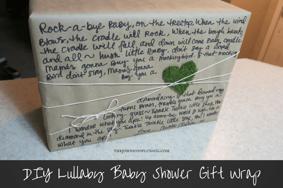 DIY Lullaby Baby Shower Gift Wrap | Creative Way To Wrap Gift | Kraft Paper Gift Wrapping