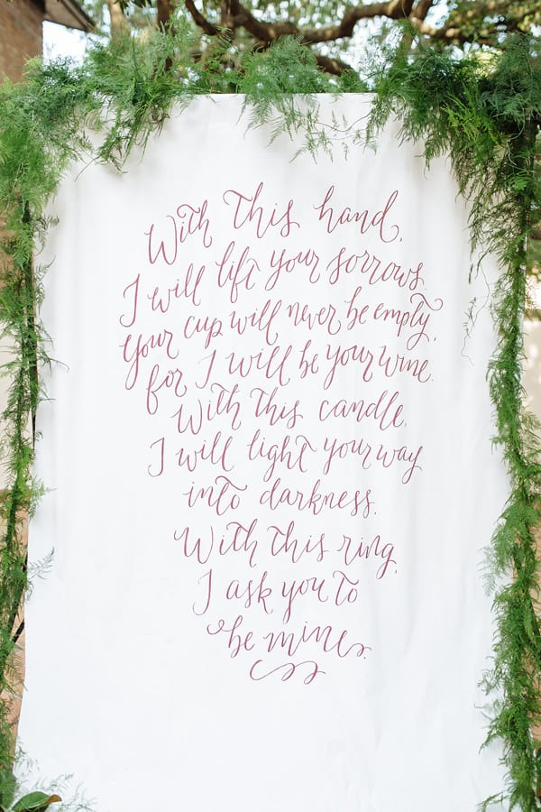 Creative Wedding Ceremony Decor Ideas | Calligraphy Backdrop for Wedding Ceremony