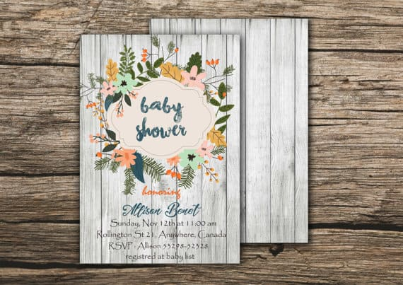 Floral Rustic Baby Shower Invitation