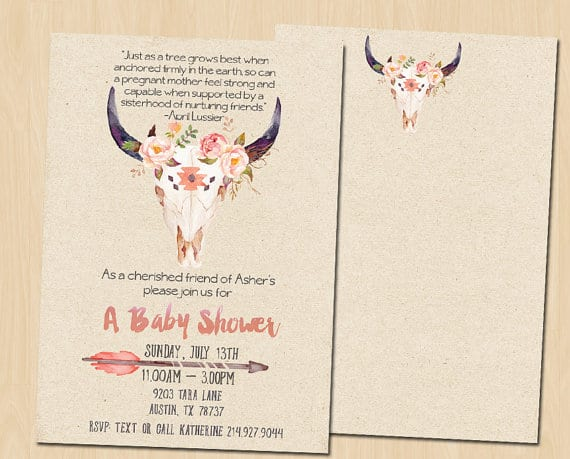 Pretty Rustic Baby Shower Invitation