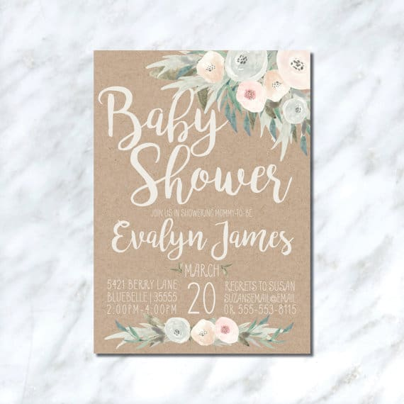 Printable Neutral Rustic Baby Shower Invitation
