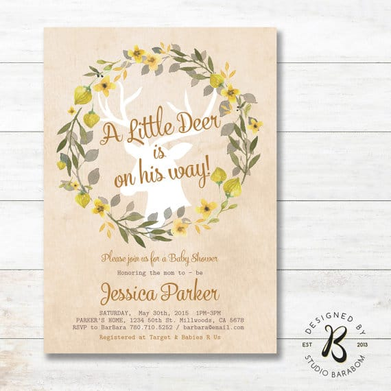 Rustic Baby Shower Invitation, Boy Baby