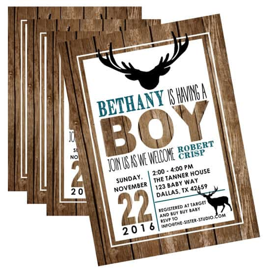 Rustic Baby Shower Invitation, Rustic Baby