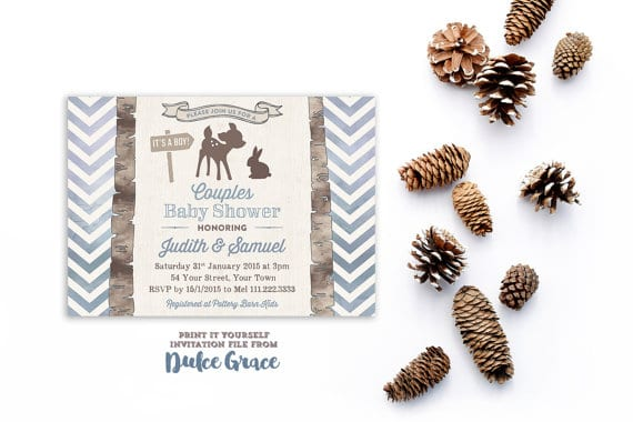 Rustic Baby Shower Invitations, Baby Boy Shower