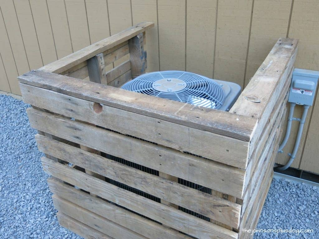 completed pallet a/c cover, with the top rails installed
