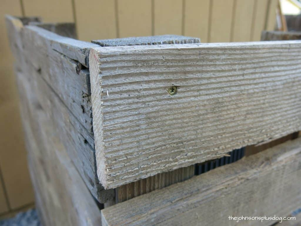 close up of the corner joint of a recycled pallet barrier, showing a torx head screw drilled into the wood