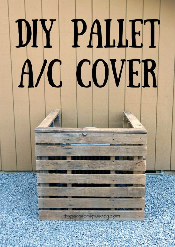 a wooden barrier around an a/c unit ...with a text overlay that says... DIY pallet a/c cover