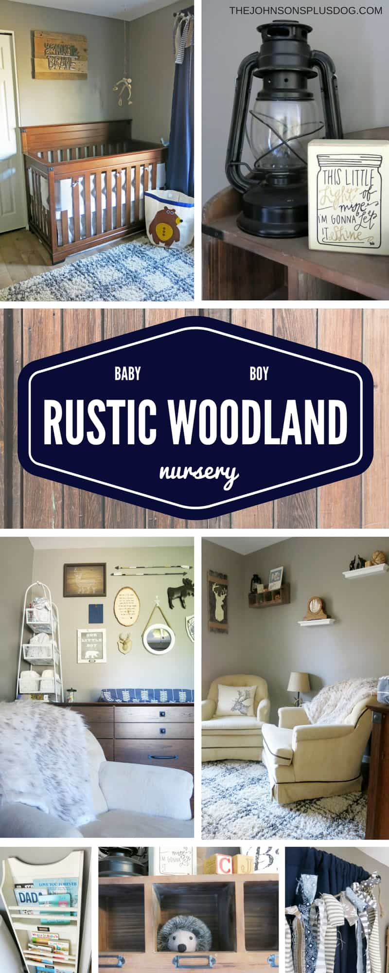 a collage of images featuring rustic nursery decor in various rooms ...with a text overlay that says... baby boy rustic woodland nursery