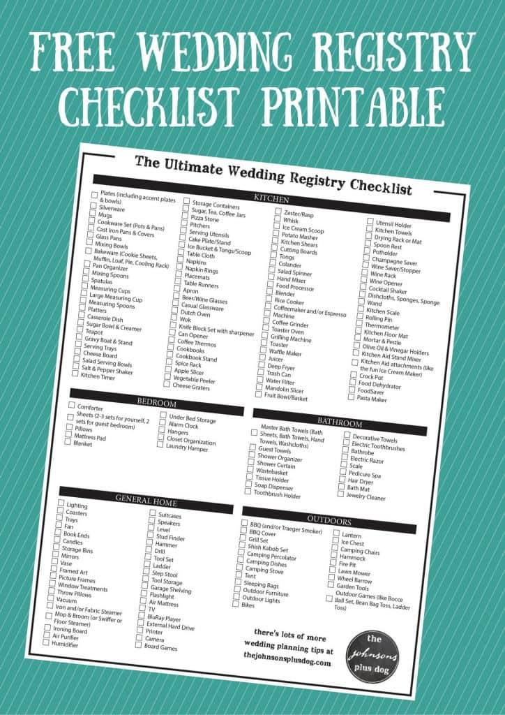 Wedding Registry Checklist | What To Register For | Everything you need on your wedding registry | Wedding Registry List | Wedding Registry Checklist Printable | Free Printable | Free Download