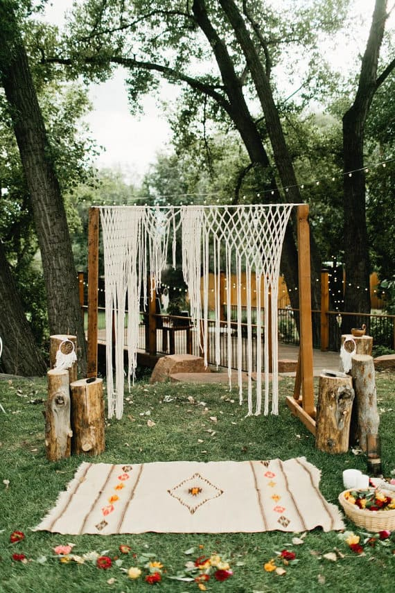 Creative Wedding Ceremony Decor Ideas | Boho Macrame Wedding Ceremony Backdrop