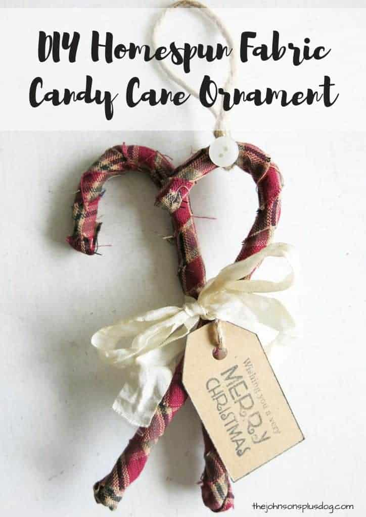 two fabric candy canes with a fabric bow and decorative tag ...with a text overlay that says... DIY homespun fabric candy cane ornament
