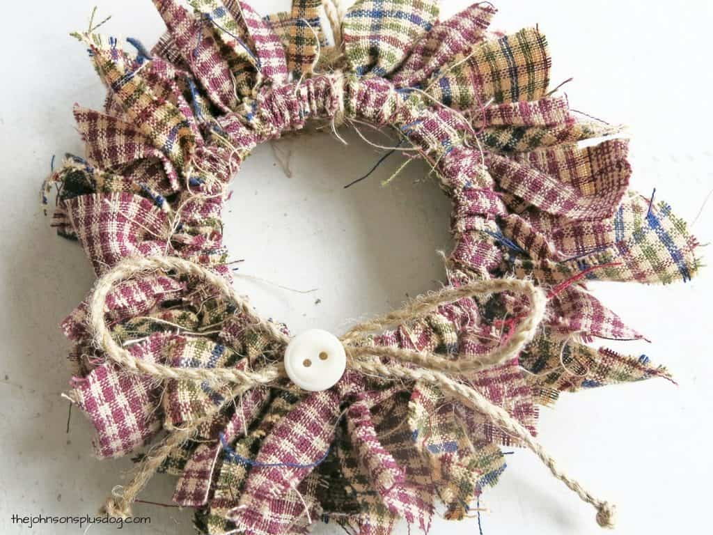front view of the completed homemade fabric wreath ornament