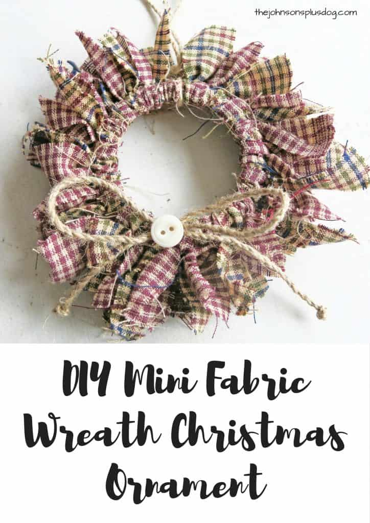 a small fabric wreath ...with a text overlay that says... DIY mini fabric wreath christmas ornament