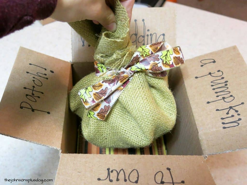 Burlap sack tied with fall festive ribbon with hand lifting it out of the box. Letter on the inside flaps of the box says we're adding a pumpkin to our patch!