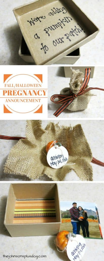 Photo collage showing a small box holding a mini pumpkin with due date for a cute Halloween baby announcement