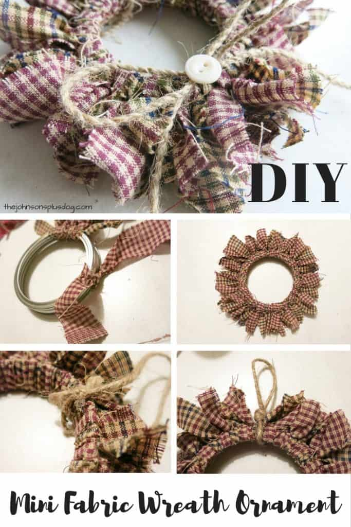 composite image of five photos, each showing the wreath ornament in progressing stages of completion ...with a text overlay that says... DIY mini fabric wreath ornament