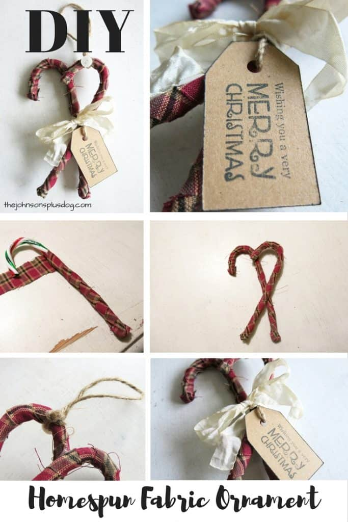 a composite image of six pictured of the homemade fabric wrapped candy cane ornament in progressing stages of assembly ...with a text overlay that says... DIY homespun fabric ornament