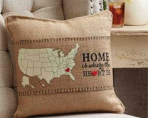 Gift Guide for Newlyweds | Gift for Newlyweds | Christmas Gift Ideas | Home is where the heart is burlap pillow wrap from My Wedding Favors