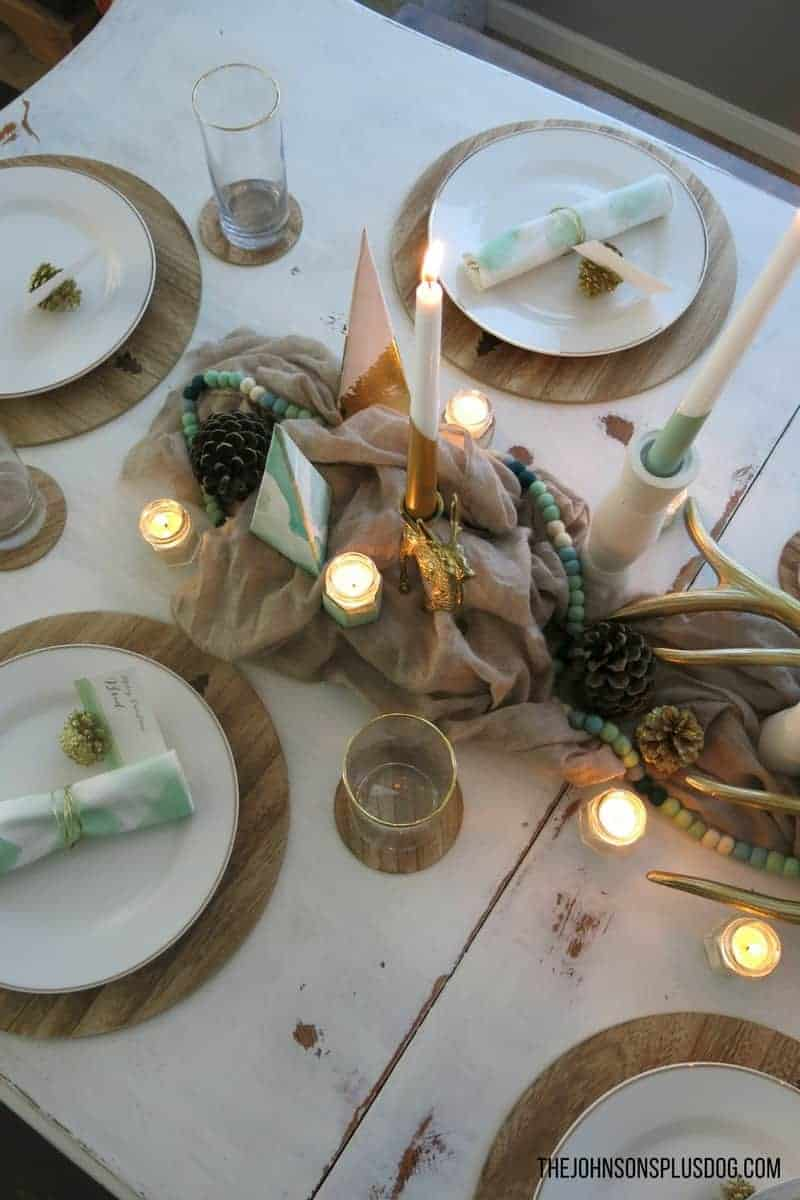 Use scarf for a table runner | Mint & Gold Modern Christmas Tablescape | Modern Christmas | Modern Farmhouse | Farmhouse Christmas | Mint and Gold | Rustic Modern Christmas | Christmas Table Ideas | Mid Century Christmas | Table inspiration for Modern Christmas