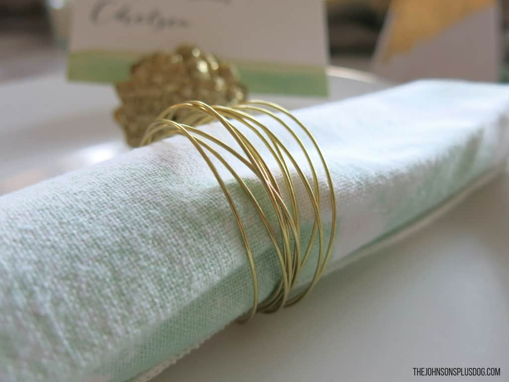 DIY Gold Napkin Rings | Mint & Gold Modern Christmas Tablescape | Modern Christmas | Modern Farmhouse | Farmhouse Christmas | Mint and Gold | Rustic Modern Christmas | Christmas Table Ideas | Mid Century Christmas | Table inspiration for Modern Christmas