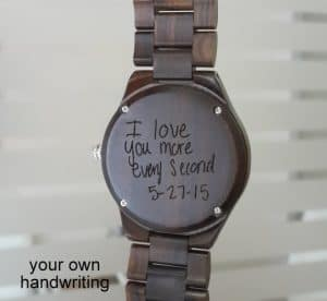 Engraved wood watch | Wood watch engraved with your own handwriting | Engaved with your own writing | watch engraving | Engaved message on watch | Wood watch gift | Valentines Day watch | Unique Valentine's Day Gifts from Etsy | Etsy Gift Guide | What to get for your husband for Valentine's Day | What to get for your kids for Valentine's Day | What to get for your wife for Valentine's Day | Vday gifts | Vday presents | Unique etsy finds | Vday gifts from Etsy | Handmade Valentine's Day gifts | Valentines Gift Guide | Unique gifts from Etsy | Etsy finds | Vday gifts from Etsy | What to buy for your wife for Valentine's day | Gifts for her | Gifts for him | Gifts for kid | Vday gifts