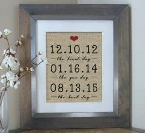Framed dates | The first day, the yes day, the best day | Framed dates for anniversary | Important dates | burlap print Unique Valentine's Day Gifts from Etsy | Etsy Gift Guide | What to get for your husband for Valentine's Day | What to get for your kids for Valentine's Day | What to get for your wife for Valentine's Day | Vday gifts | Vday presents | Unique etsy finds | Vday gifts from Etsy | Handmade Valentine's Day gifts | Valentines Gift Guide | Unique gifts from Etsy | Etsy finds | Vday gifts from Etsy | What to buy for your wife for Valentine's day | Gifts for her | Gifts for him | Gifts for kid | Vday gifts