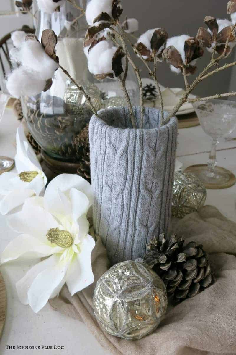 Farmhouse Winter Tablescape | Decorate your table for winter with farmhouse style | Get fixer upper style in your house for winter | Farmhouse decor for winter | Farmhouse table | Tablescape for winter | Post christmas decorations | How to transition your home from Christmas to winter | Cotton Stems | Sweater Wrapped Vases | Popsicle Stick Snowflakes | Vintage Winter Decor