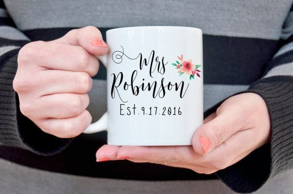 Custom last name mug | Mrs. coffee mug  | coffee mug with wedding date | The Best Bridal Shower Gifts From Etsy | Bridal Shower Gift Ideas from Etsy | Etsy Round up for Bridal Gifts | Gifts for the bride | Gift ideas for the bride-to-be | What to buy for a bridal shower gift | What should I get for bridal shower | Bridal shower gift ideas | Bridal shower presents | Presents for bridal shower | Present for bride | What to get for bride a shower