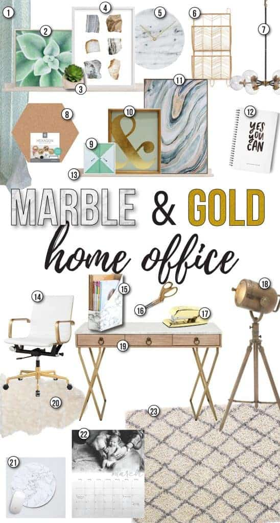 Collage of the Marble & Gold Home Office moodboard consisting of wall frames, marble clock, light fixture, white and gold office table, marble file organizer, gold scissors and stapler, Side lighting, baby photo and rugs