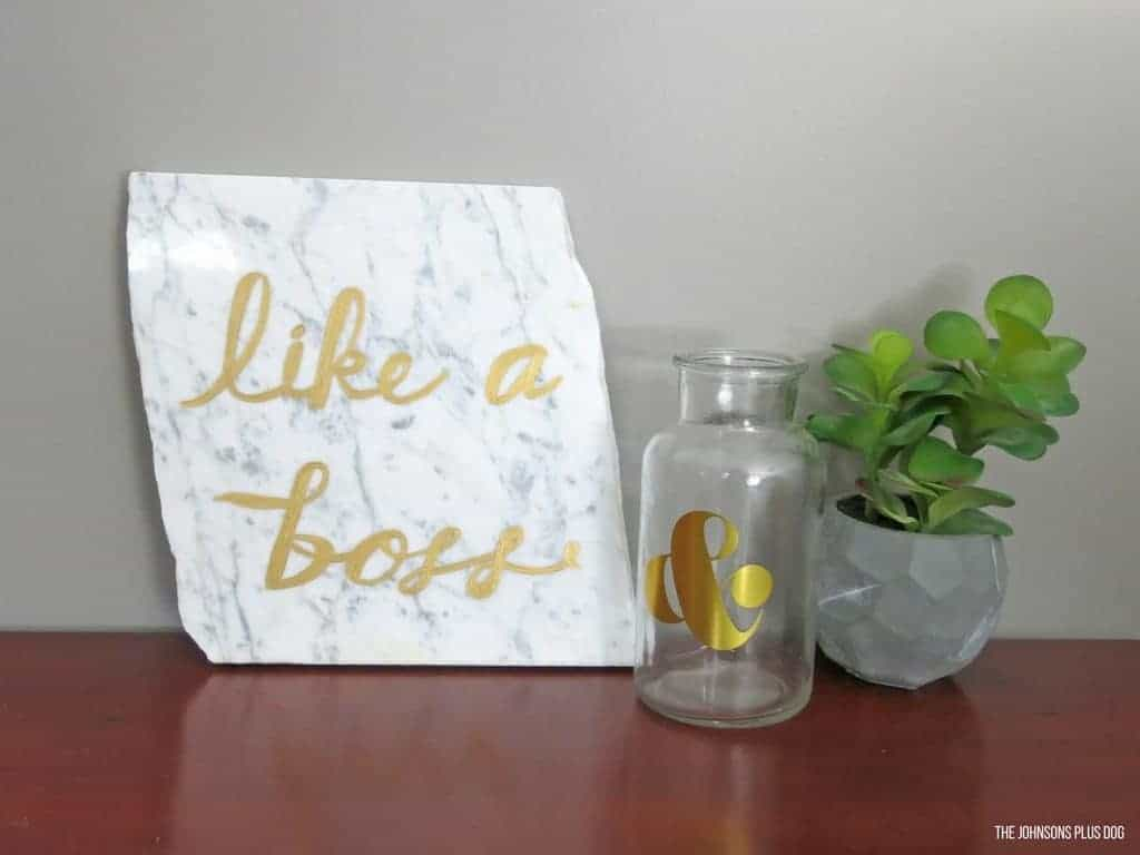 DIY Painted Marble Decor for Office | Like A Boss on Marble | How to paint on marble | How to decorate with marble | Painting on marble | Transform broken slab of marble into modern glam office decor | modern office decor | Modern Office Decorations | Office Signs | Sign for Office | Like a boss sign | The Lonely Island Like a Boss | Seth Rogan Like a Boss | Boss Lady sign | DIY with Marble | Decorating marble & gold office