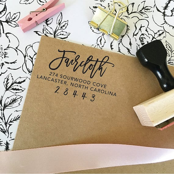 Customized address stamp | Great idea for wedding invitations The Best Bridal Shower Gifts From Etsy | Bridal Shower Gift Ideas from Etsy | Etsy Round up for Bridal Gifts | Gifts for the bride | Gift ideas for the bride-to-be | What to buy for a bridal shower gift | What should I get for bridal shower | Bridal shower gift ideas | Bridal shower presents | Presents for bridal shower | Present for bride | What to get for bride a shower
