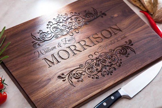 Engraved Wood Cutting Board | Custom Cutting Board | The Best Bridal Shower Gifts From Etsy | Bridal Shower Gift Ideas from Etsy | Etsy Round up for Bridal Gifts | Gifts for the bride | Gift ideas for the bride-to-be | What to buy for a bridal shower gift | What should I get for bridal shower | Bridal shower gift ideas | Bridal shower presents | Presents for bridal shower | Present for bride | What to get for bride a shower