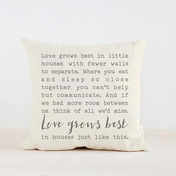 Love grows best in little houses throw pillow | Farmhouse pillow | Housewarming Gift | The Best Bridal Shower Gifts From Etsy | Bridal Shower Gift Ideas from Etsy | Etsy Round up for Bridal Gifts | Gifts for the bride | Gift ideas for the bride-to-be | What to buy for a bridal shower gift | What should I get for bridal shower | Bridal shower gift ideas | Bridal shower presents | Presents for bridal shower | Present for bride | What to get for bride a shower