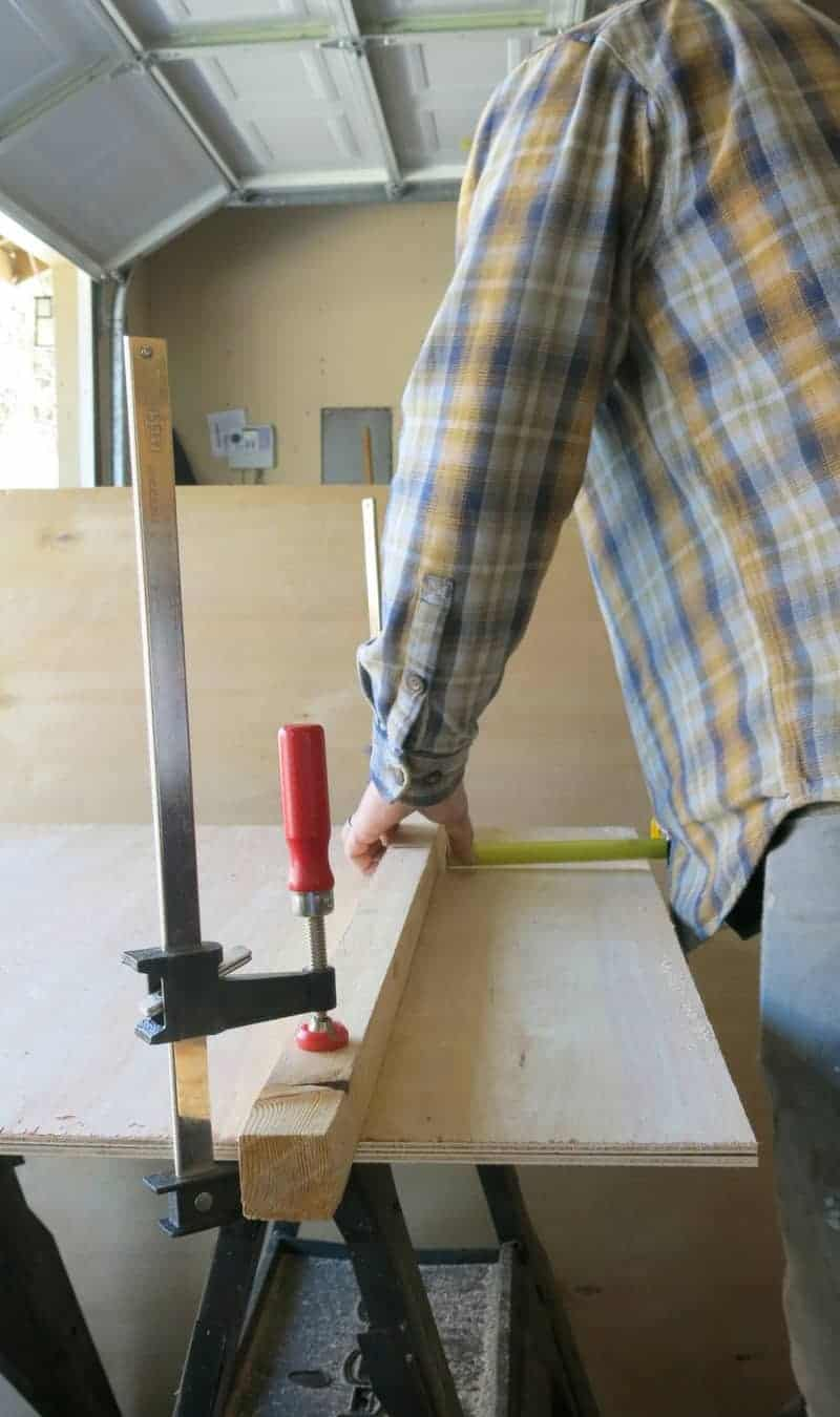 Man measuring plywood with a guide board clamped down getting ready to rip plywood without tablesaw
